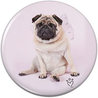 Pug Puppy Dog with Angel Wings Pink Compact Pocket Purse Hand Cosmetic Makeup Mirror - 2.25