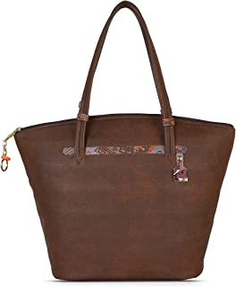 Baggit Spring-Summer 2021 Faux Leather Women's Tote Handbag (Brown) (Farout)