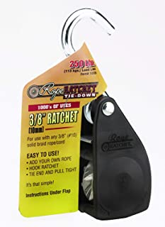 "Rope Ratchet 10026 Ratcheting Tie Down Rope Hanger Pulley, 3/8"" 250lb Weigh Capacity Only, As Pictured"