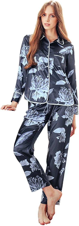 bluee Lady Elegant Cardigan Pajamas Long Sleeve Trousers Simulation Silk Home Apparel TwoPiece Set ( color   bluee , Size   XL )