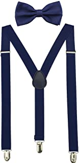 HABIBEE Solid Color Mens Suspender Y Shape with Strong Clips Adjustable Braces