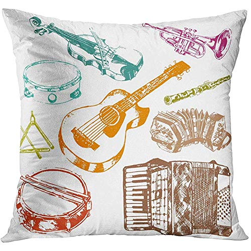Fundas De Almohada,Instrumentos Musicales De Concierto Clásicos De Acordeón Clave Fiddle Drum Color Doodle Sketch Cushion Home Sofá Decoración Cremallera Oculta Funda De Almohada De Poliéster 50X