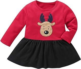 feiXIANG Bambino e Ragazzi Top Pantaloni Neonato T-Shirt Felpa Stampa Cervi di Cartone Animato di Natale Outfit Set per Bambini a Manica Lunga Casuale Ragazza e Bambina Pullover Pantaloni Felpe