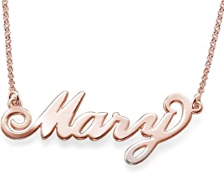 Personalized Name Necklace 18K Gold Plated Custom Made Any Nameplate Classic Cursive Rose Gold Sterling Silver Pendant