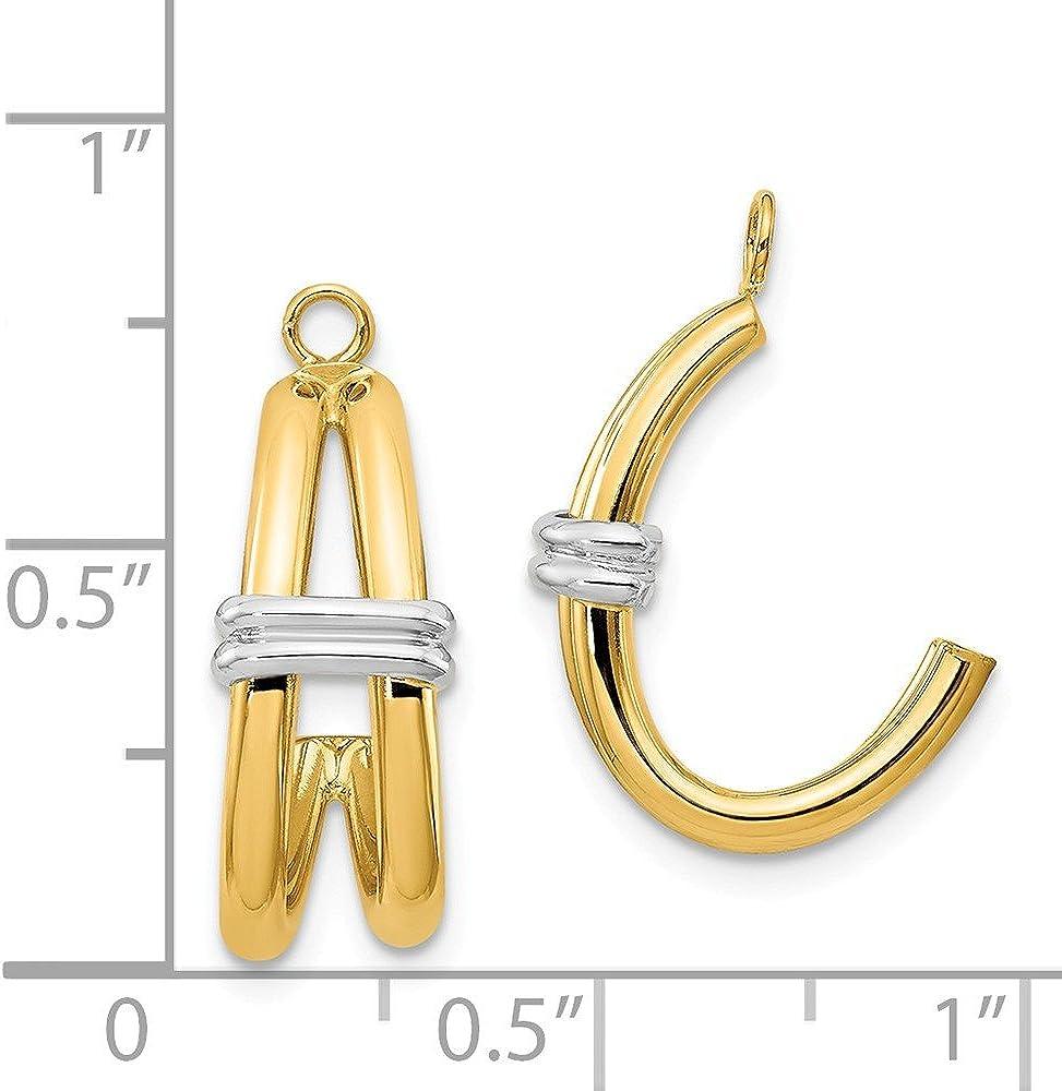 14k Two-tone Gold Polished Double J-Hoop Earring Jackets