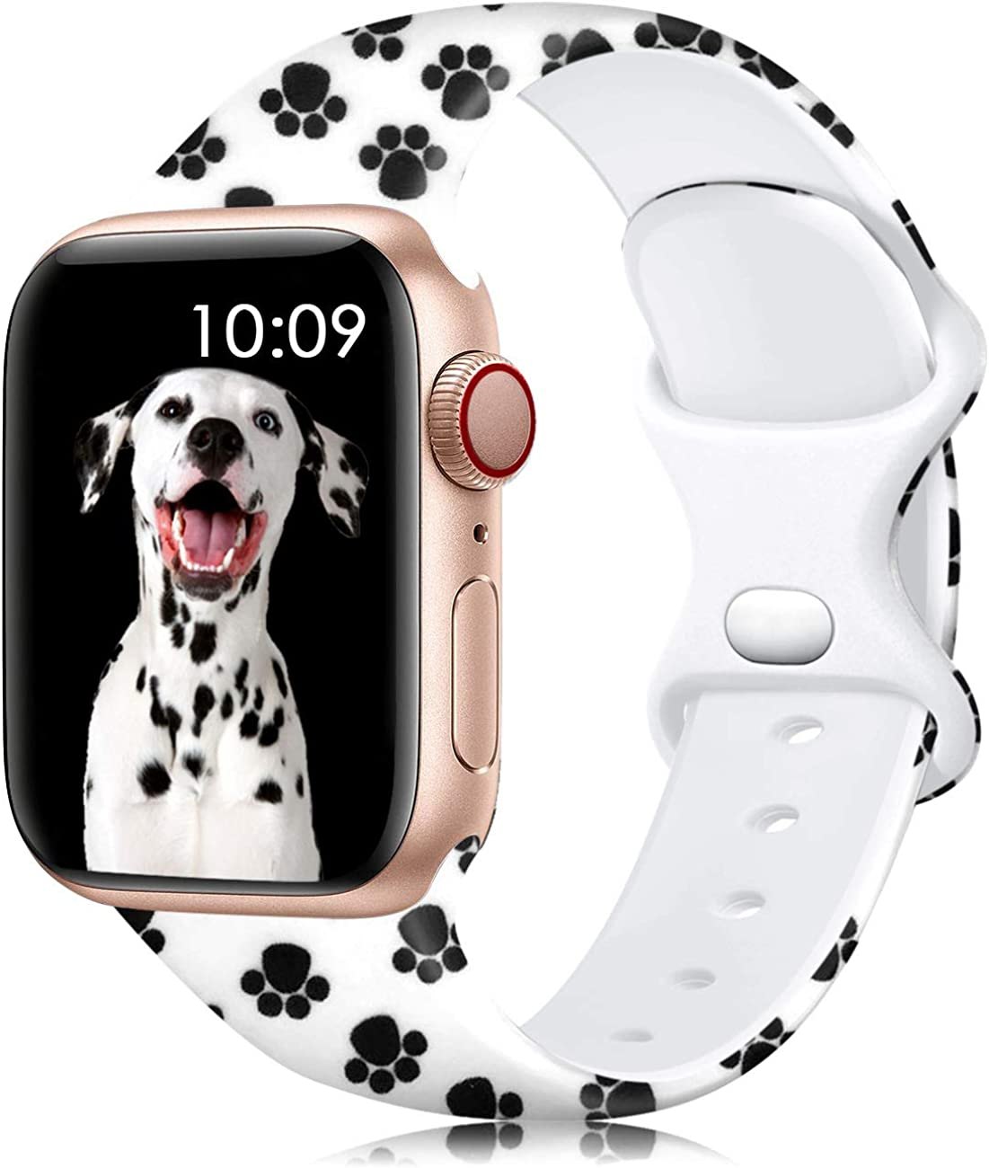 Lerobo Bands Compatible with Apple Watch Bands 40mm 38mm 44mm 42mm Women Men, Silicone Floral Printed Fadeless Pattern Replacement Bands for Apple Watch SE iWatch Series 6,Series 3,Series 5 4 3 2 1