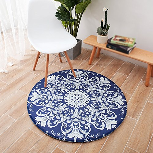Cqq tapis Retro Pastoral Living Room Tapis Fashion Foot Pad Bedroom Tapis rond (taille : 80cm*80cm)