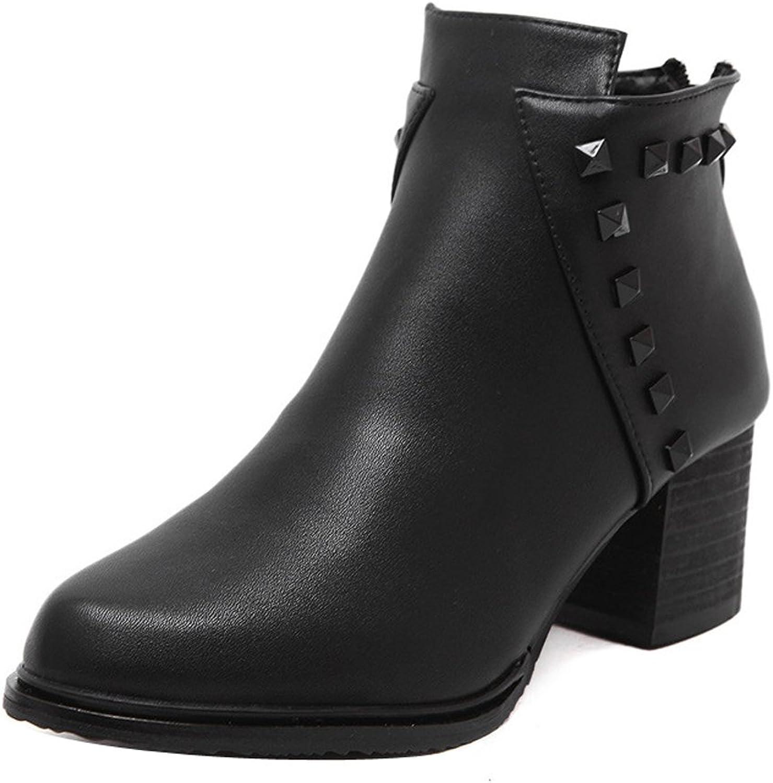 Ladola Womens Waterproof Pointed-Toe Grommets Mid Heel Urethane Boots