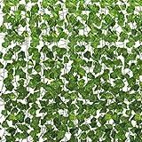 winkong 造花グリーン 24本入り アイビーガーランドの葉 人工観葉植物 フェイクグリーン 2パック