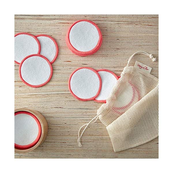 Reusable Cotton Pads 18 pack - Organic Bamboo Cotton Makeup Remover Pads with large laundry bag and bamboo storage…