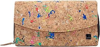 Kork Geldbörse Damen, Boshiho Nachhaltig Frauen Vegan Portemonnaie mit Reißverschluss Geldbeutel Große Kork mit Vielen Fäc...