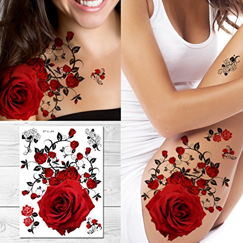 Supperb Temporary Tattoos - Red Roses (8 x 6 inches)