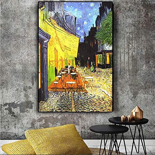 GJQFJBS Van Gogh Cafe Terrasse bei Nacht Berühmte Ölgemälde-Reproduktion auf Leinwandplakaten und Wandkunstbildern für Wohnkultur (Rahmenlos) A5 70X120CM