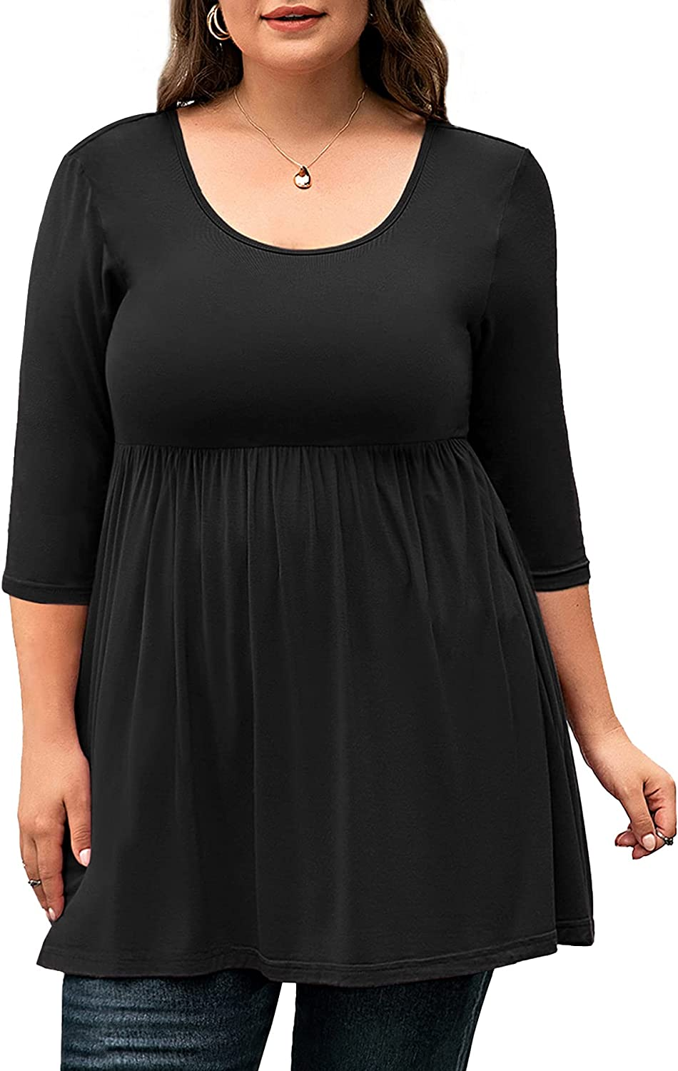 Auslook Women's Plus Size Tunic 3/4 Sleeve Scoop Neck Top Pleated Flowy Loose Fit T Shirt
