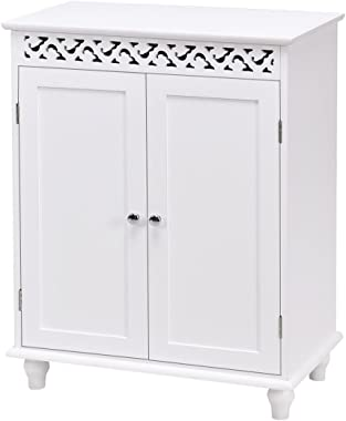 WATERJOY Storage Cabinet, Wooden Bathroom Cabinet with 2 Doors and 2 Shelves, Home Fashions Medicine Cabinet Cupboard with Wh