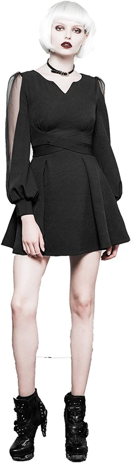 Punk Bubble Sleeves Henley Dresses for Women High Waisted Slim Side Zip Dress
