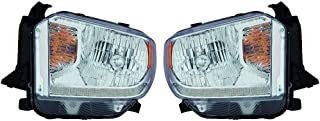 Fits Toyota Tundra 2014-2016 Headlight Assembly Halogen Platinum Edition LED Daytime Running Lights Pair Driver and Passenger Side (NSF Certified) TO2502220, TO2503220