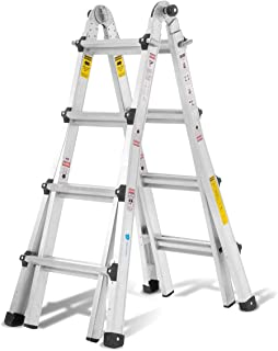 Aluminum Extension Ladder with 300 lb Duty Rating (Load Capacity Type IA), Model 17-Foot Durable and Multi-Purpose Ladder