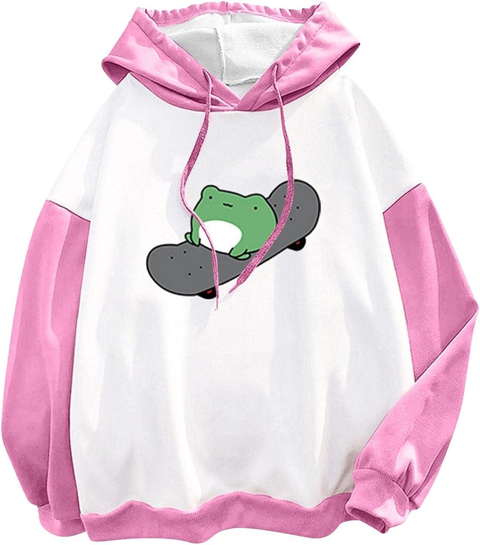 Sweatshirts for Women,Women's Fashion Hoodies & Sweatshirts Lightweight Cute Frog Graphic Drawstring Pullover
