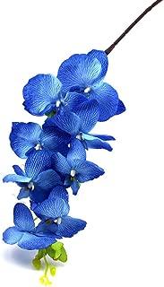 Gogogo Butterfly Orchid Silk Flower Artificial Phalaenopsis Branch Home Garden D¨¦cor (Blue)