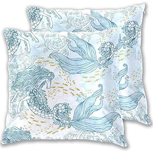 Barroco Elementos antiguos Flores Peces Kelpie Arrecifes de coral Caballo Sirenas Fundas de almohada Fundas de almohada cuadradas, 18X18 in