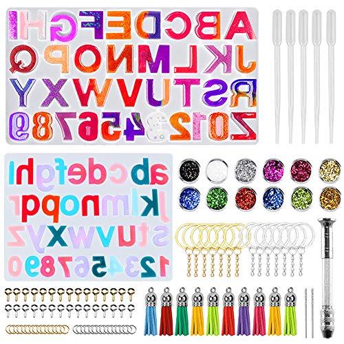 Janememory Iriisy - Kit de 272 moldes de silicona con resina de alfabética epoxi. Accesorios de metal para manualidades, utilizado para llavero, collar, pulsera, borla, decoración navideña