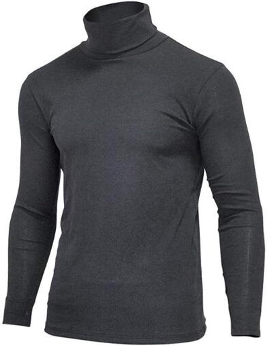 QWERBAM Cotton Thermal Underwear Collar Mens Plus Size Tops Turtleneck Long Sleeves Men Elastic T Shirts (Color : Black, Size : L.)