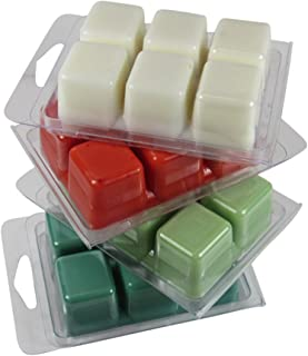 4 pack ~ Season's Greetings Holiday Collection ~ Wax Melts~ Christmas Tree, Mistletoe¸ Candy Cane & Winterberry ~ Meltables ~Highly Scented – Strong Scent Throw