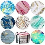 Coasters for Drinks Absorbent - Colorful Ceramic Stone Cup Marble Coaster Sets of 8 Pack Anti Scratch Cork Base with Holder 3.9' for Wooden Coffee Table Bar Housewarming Gifts