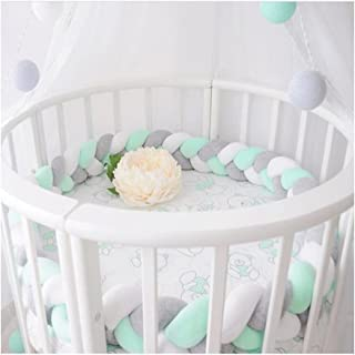LOAOL Baby Crib Bumper Knotted Braided Plush Nursery Cradle Decor Newborn Gift Pillow Cushion Junior Bed Sleep Bumper (4 Meters, White-Gray-Green)