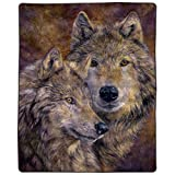 """Lavish Home Heavy Fleece Pair of Wolves Pattern-Plush Thick 8 Pound Faux Mink Soft Blanket for Couch Sofa Bed (74"""" x 91, Multicolor"""