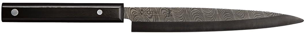 Kyocera Advanced Ceramic Kyotop Damascus 8.25 inch Sashimi Knife with Pakka Wood Handle, Black Blade