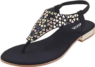 Mochi Women Black Synthetic Sandals (33-250)