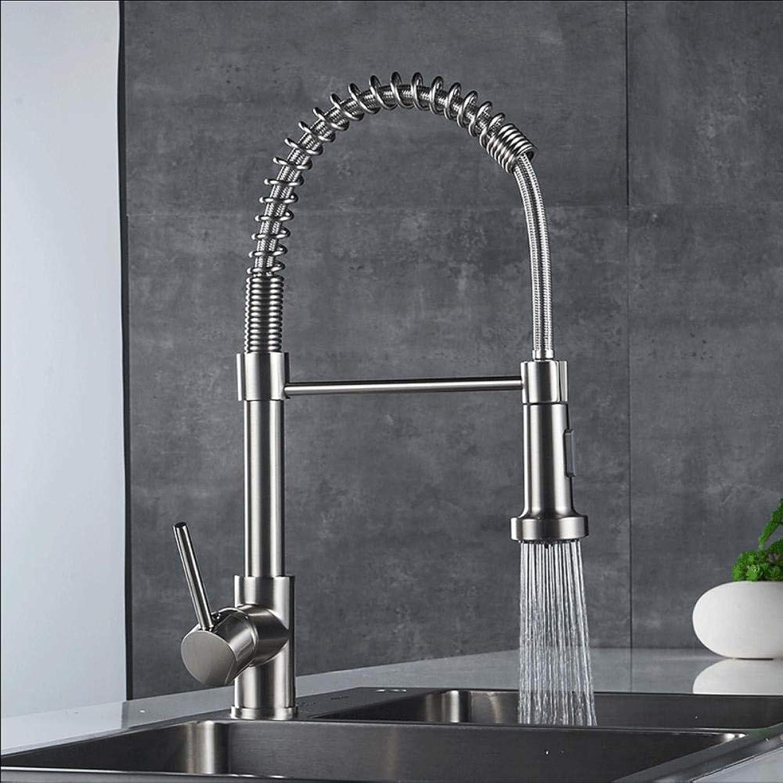 Küchenarmatur Spring Style Küchenarmatur Nickel gebürstet Rundum ausziehbar Drehbarer 2-Funktions-Wasserhahn