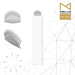 Mellie Microblading U18 Microblading Needle Blade 25 pcs - U Shape 18 Pins .18mm Perfect For Creating Perfect Eyebrows Strokes