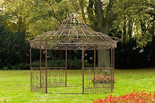 CLP Pavillon ROMANTIK V2 aus pulverbeschichtetem Eisen l Runder Pavillion mit stilvollen Verzierungen l Höhe 350 cm l Garten Rankpavillon mit Seitenteilen Antik Braun