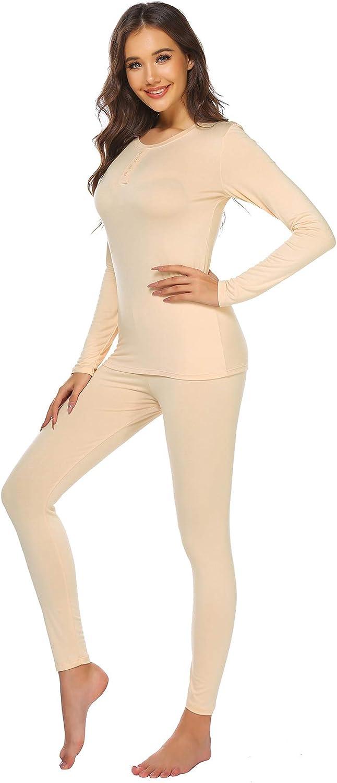 Ekouaer Womens Thermal Underwear Set Ultra Soft Henley Base Layer Stretch Top & Bottom Set for Winter