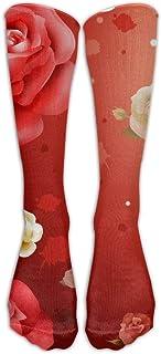 Calcetines largos para hombre y mujer, diseño de rosas rojas y blancas, unisex