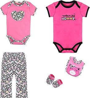 ZEVONDA Baby Boys Girls Clothing Set 5 Pcs - Short Sleeve Bodysuit & Trousers & Bibs Animals Cartoon Newborn Outfits for 0-12 Months