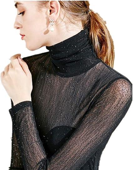Camisa De Mujer De Cuello Alto Negra con Cuello Alto Y ...