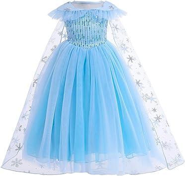 Eiskönigin Frozen Elsa Prinzessin Mädchen Kinder Cosplay Kostüm Mesh Partykleid