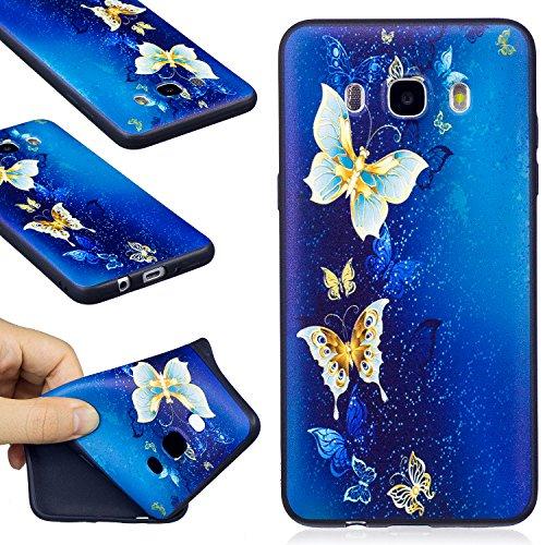 Funda Galaxy J5 2016, WindTeco Ultra Delgado Dorado Mariposa Diseño Protectiva Carcasa de Silicona Gel TPU Bumper Case Cover para Samsung Galaxy J5 2016