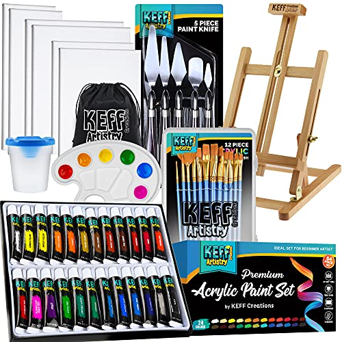 KEFF Creations Acrylic Paint Set - 54 Piece Professional Artist Painting Supplies Kit, Art Painting, 24 Acrylic Paint Tubes, Paintbrushes, Canvases and More-for Adults & Beginners