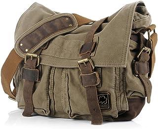 Han Lucky Star Herren Canvas Herrentasche Vintage Umhängetasche Männer Aktentasche Messenger Bag Schultertasche Handtasche Army Green