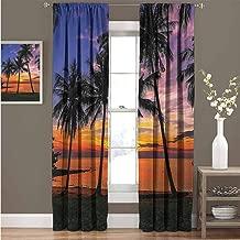 EDZEL Decorative Curtains for Living Room, Indoor Decoration, Ocean Palms Tree Sunset Seaside Beach View Design Aquamarine Vacation Scenery, 96
