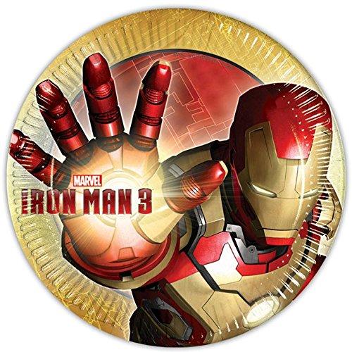 Marvel Unique Party 71500 - Set di 8 Piatti Iron Man, 23 cm