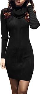 bc07b710d3 v28 Women Cowl Neck Knit Stretchable Elasticity Long Sleeve Slim Fit  Sweater Dress