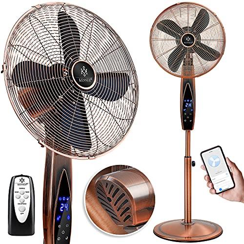 KESSER® Standventilator Metall mit Fernbedienung APP Funktion WiFi, Timer Standlüfter - Oszillationsfunktion 80 Grad, 55W – 3 Geschwindigkeitsstufen, höhenverstellbarer Ventilator Standfuß Copper