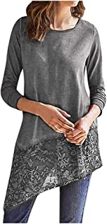 LIM&SHOP Women Casual Soft Long Sleeve Lace Stretchy Swing T-Shirt Dress, Tunic Tops Lace Hem Shirts Loose Fit O Neck