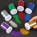 Baker Ross Lot de 6 Distributeur de Paillettes Colorées - Idéal pour Les décorations de Noël ou la Confection de Carte